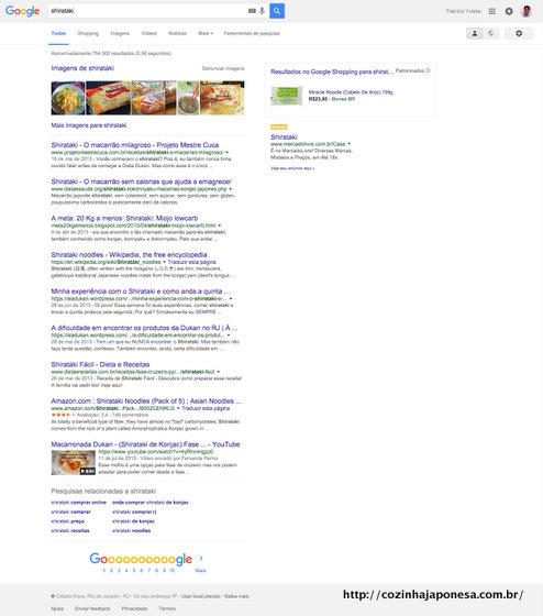 """Pesquisa no Google sobre """"shirataki"""""""