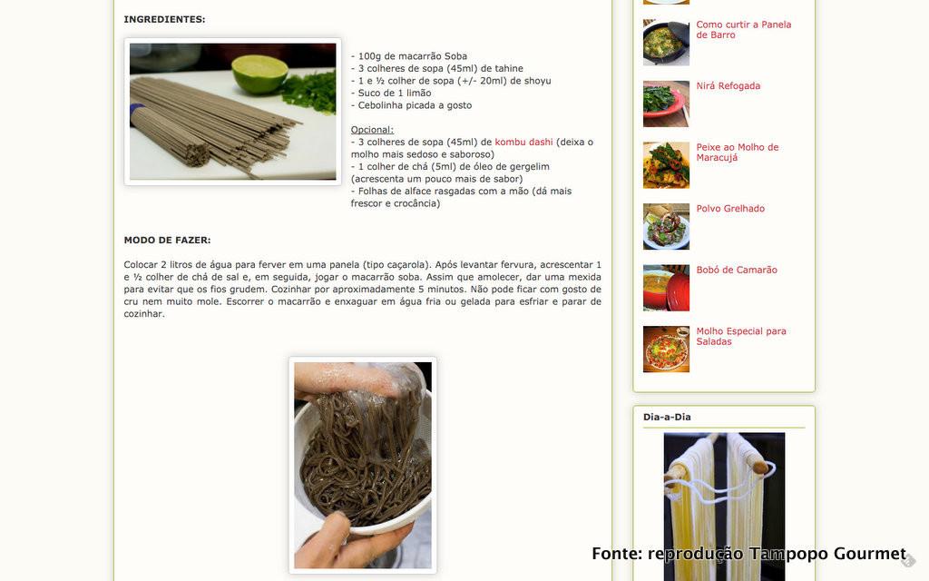 Parte da receita de salada de soba (por Tampopo Gourmet)