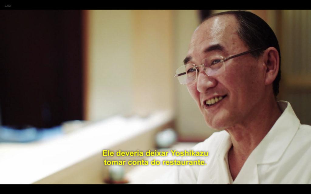 Cena de Jiro Dreams of Sushi: chef Mizutani falando sobre Jiro Ono