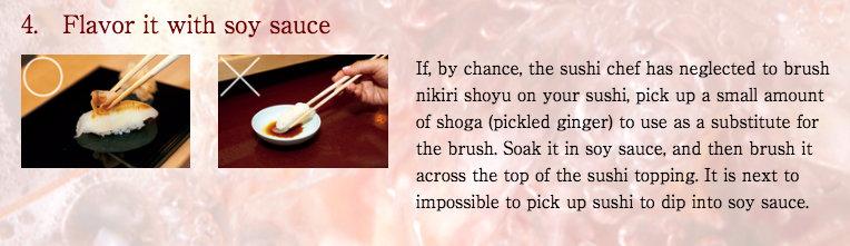 Como passar shoyu no sushi usando o gari (gengibre). Fonte: Sukibayashi Jiro.